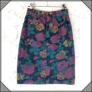 * Vintage Shades Floral Denim Skirt * Jean Pencil